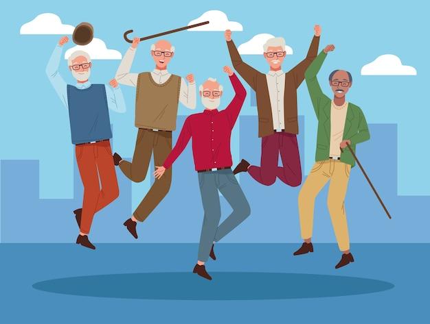 Internationale ouderendag met oude mensen die op de stad vieren