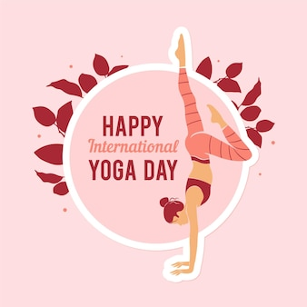 Internationale platte ontwerp gelukkige dag van yoga