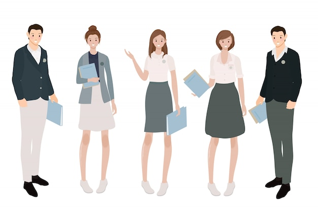 Internationale studenten in uniforme collectie