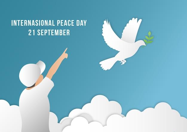 Internationale van de vredesdag achtergrondmalplaatjevector met mens