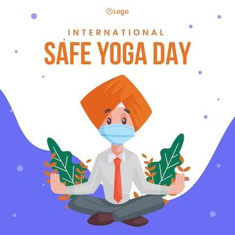 Internationale veilige yoga dag banner ontwerp