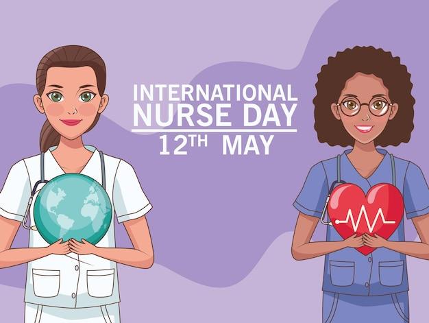 Internationale verpleegster dag 12 mei illustratie kaart