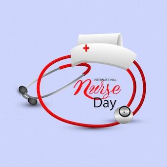 Internationale verpleegster dag achtergrond met medische apparatuur