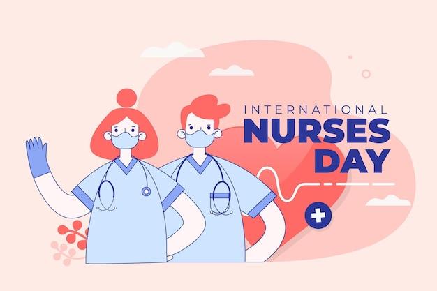 Internationale verpleegsters dag maskers en handschoenen concept