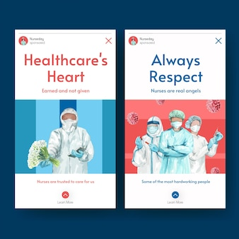 Internationale verpleegstersdag instagram-verhaalsjablonen instellen