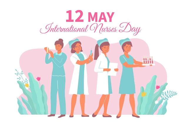 Internationale verpleegstersdagkaart met vrouwen in medische kleding op het werk