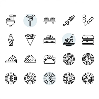 Internationale voedsel dunne lijn icon set