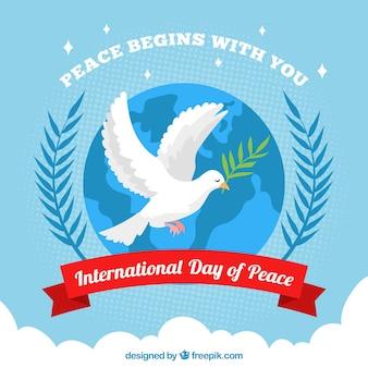 Internationale vrededag achtergrond met duif