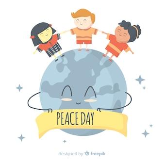 Internationale vredesdag achtergrond met kinderen