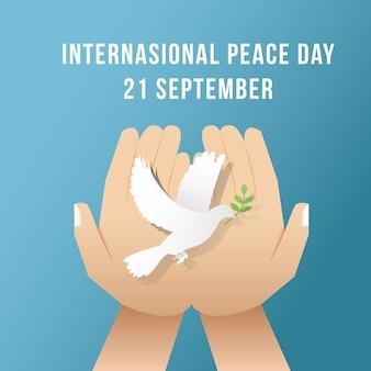 Internationale vredesdag achtergrond sjabloon vector met hand