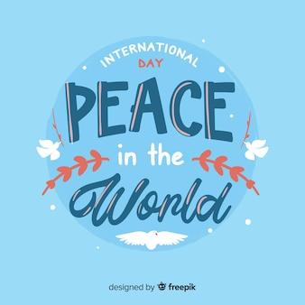 Internationale vredesdag belettering