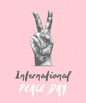 Internationale vredesdag met schets van gebaar
