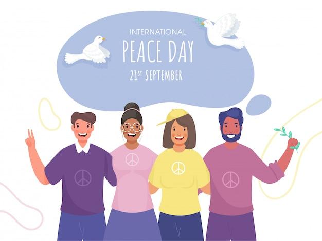 Internationale vredesdag-poster met vliegende duiven en vrolijke groepsmensen in foto-vastlegging pose.