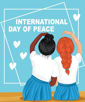 Internationale vredesdag. twee gepassioneerde tienermeisjes campagne vector illustratie
