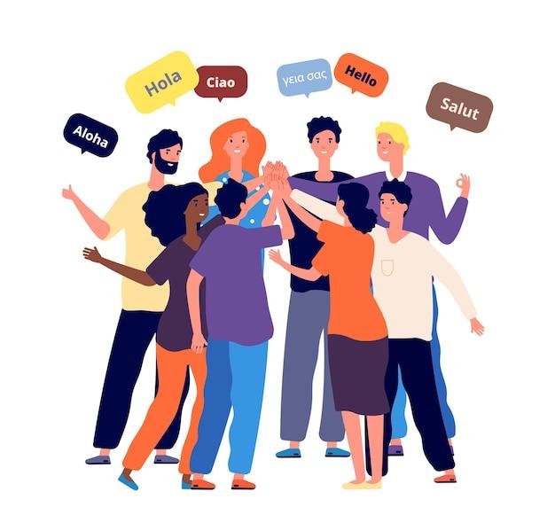 Internationale vrienden ontmoeten. studenten uit verschillende landen begroeten samen de moedertaal.