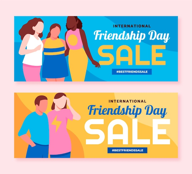 Internationale vriendschapsdag banners instellen