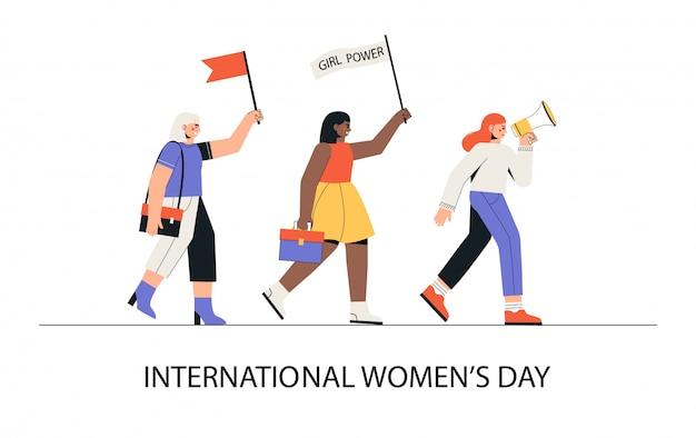 Internationale vrouwendag, 8 maart. een groep vrouwen van verschillende nationaliteiten marcheert met een luidspreker en vlaggen.