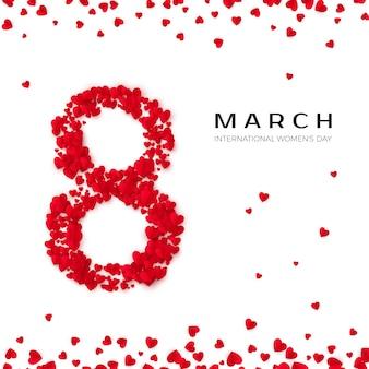 Internationale vrouwendag. 8 maart groet briefkaart. acht is gemaakt van harten. website banner concept. illustratie