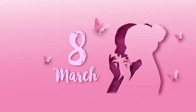 Internationale vrouwendag 8 maart met frame van bloemen en bladeren, papierkunststijl.