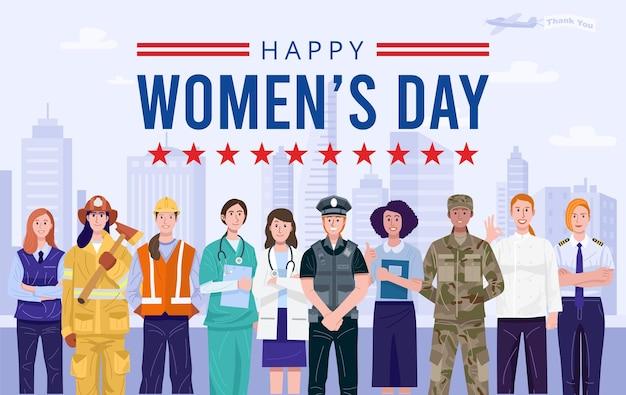 Internationale vrouwendag. groep vrouwen met verschillende beroepen.