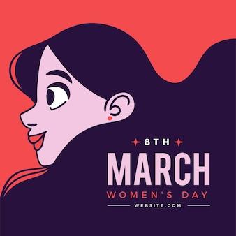 Internationale vrouwendag illustratie met vrouw in profiel te bekijken