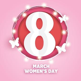Internationale vrouwendag in papierstijl.