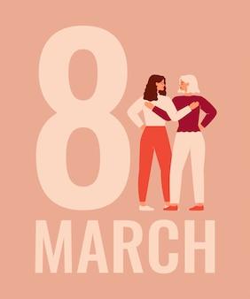 Internationale vrouwendag met twee vrouwen.
