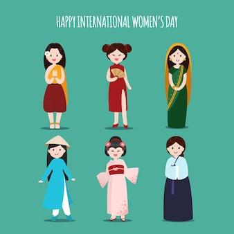 Internationale vrouwendag met vrouwen van verschillende etnische afkomst