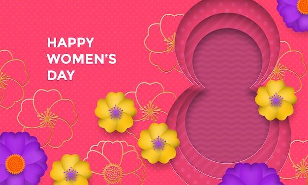 Internationale vrouwendag papier gesneden illustratie met gouden frame nummer acht voor 8 maart-kaart.