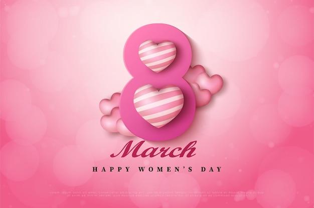 Internationale vrouwendag van 8 maart achtergrond met getallen.