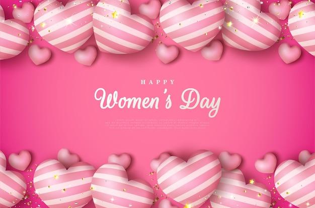 Internationale vrouwendag van 8 maart achtergrond met gloeiende liefde ballonnen.