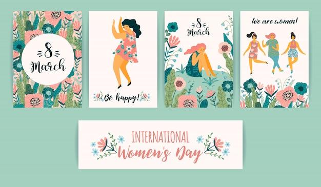 Internationale vrouwendag. vector sjablonen met schattige vrouwen