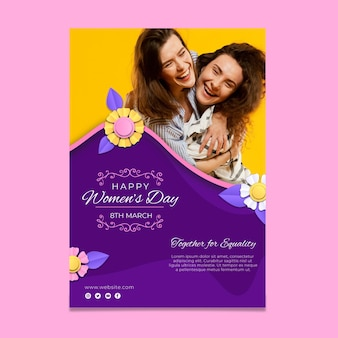 Internationale vrouwendag verticale flyer-sjabloon