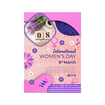 Internationale vrouwendag verticale poster sjabloon met vrouwelijk symbool
