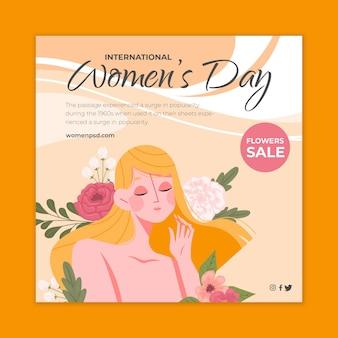 Internationale vrouwendag vierkante flyer-sjabloon met vrouw en bloemen