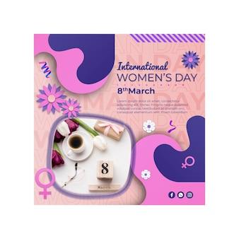Internationale vrouwendag vierkante flyer-sjabloon
