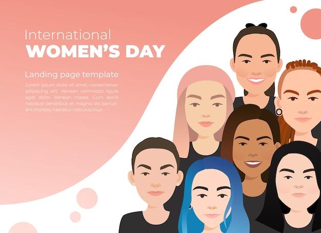Internationale vrouwendag. vrouwelijke diverse gezichten van verschillende etniciteit.