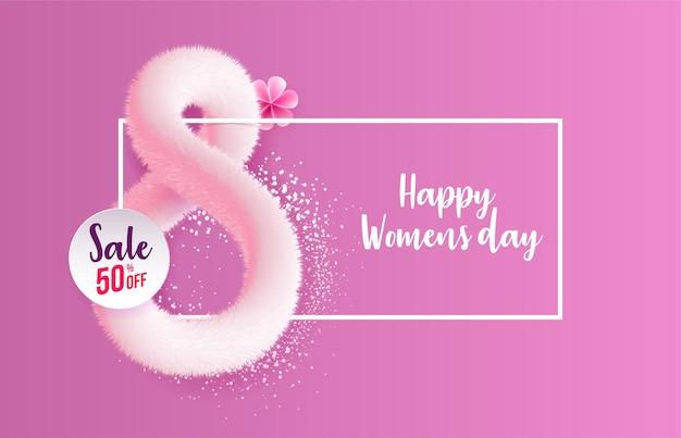 Internationale vrouwendag wenskaart gemaakt in de vorm van realistisch roze pluizig klatergoud