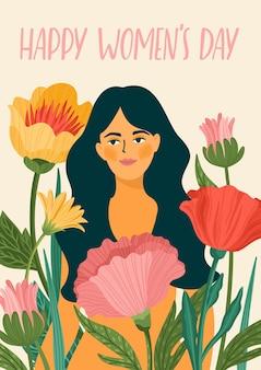Internationale vrouwendag wenskaart met vrouw en bloemen