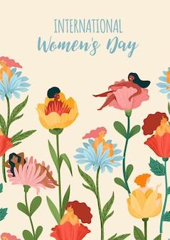 Internationale vrouwendag wenskaart met vrouwen en bloemen