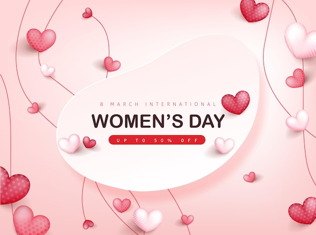 Internationale vrouwendag wenskaartsjabloon voor spandoek.