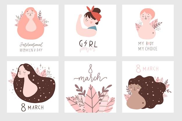 Internationale vrouwendagkaarten instellen vectorsjabloon met illustratie van mooie vrouwen