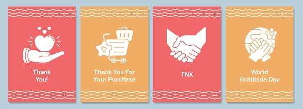 Internationale waardering dag wenskaart met glyph icon element set. creatief eenvoudig briefkaart vectorontwerp. decoratieve uitnodiging met minimale afbeelding. creatieve banner met feestelijke tekst