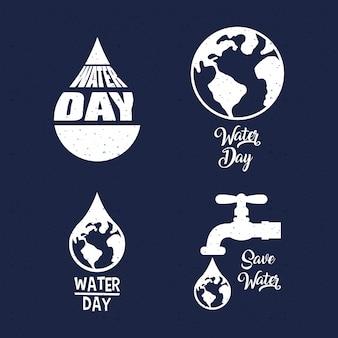 Internationale waterdagbundel van logo's