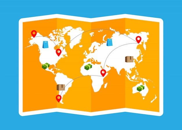 Internationale winkelen kaart vouwen brochure