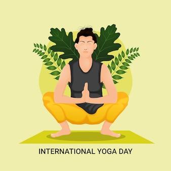 Internationale yoga dag achtergrond met vectorillustratie Premium Vector