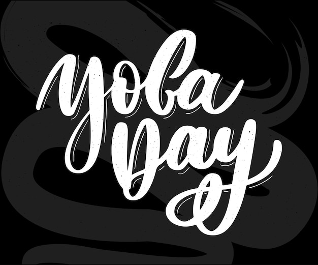 Internationale yoga dag belettering