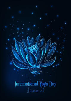 Internationale yoga dag poster met gloeiende laag poly waterlelie, lotusbloem.