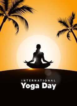Internationale yoga dag vectorillustratie, zonsopgang achtergrond. yogadag op 21 juni.