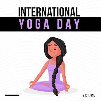 Internationale yoga dag wenskaart voor bannerontwerp voor speciale evenementen
